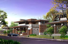 砖立面别墅建筑效果图