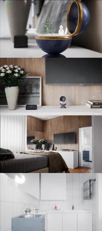 3D简约室内装修展示动态视频