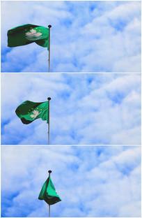 澳门区旗飘动没风了落下来视频