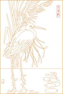 传统丹顶鹤雕刻图案
