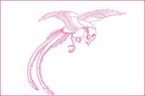 传统鸟纹线描雕刻图案