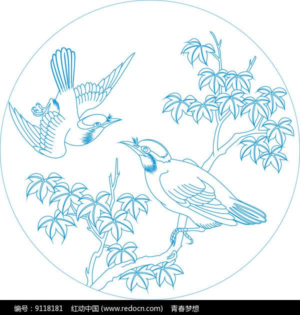 传统鸟纹线描雕刻图案 图片