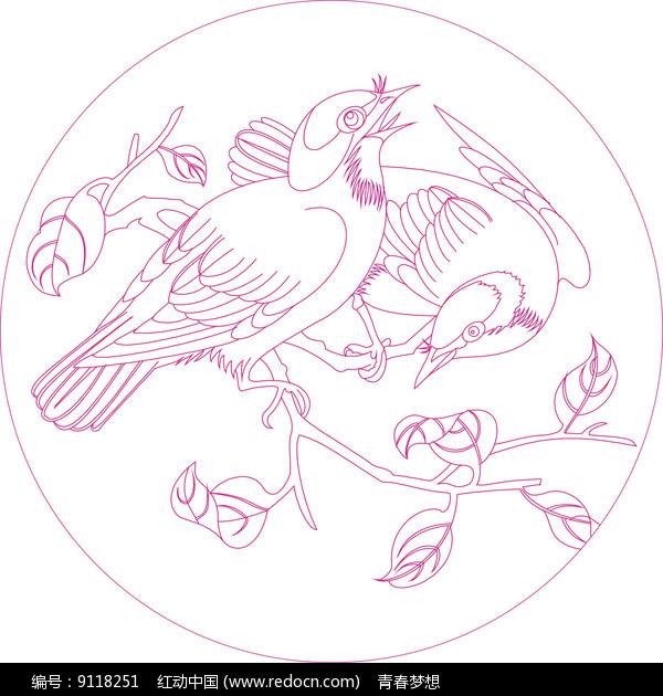 传统鸟纹线描雕刻图案图片