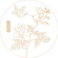 传统鸟语花香纹雕刻图案