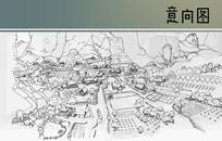 村庄景观手绘鸟瞰图 JPG