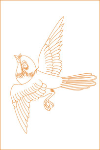 动感鸟纹线描雕刻图案