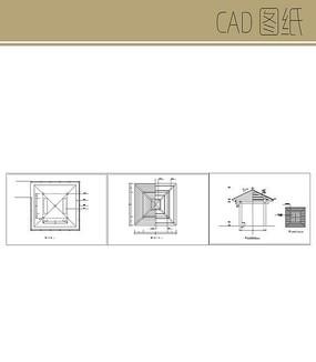 方形景观亭CAD图纸