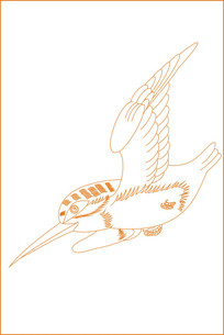 飞行鸟纹雕刻图案