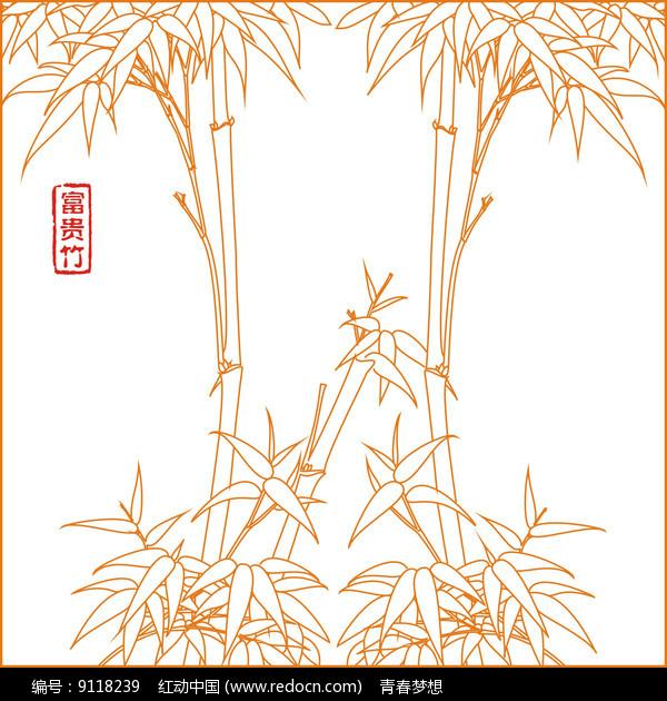 富贵竹线描雕刻图案图片