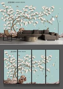 工笔花鸟海棠电视背景墙