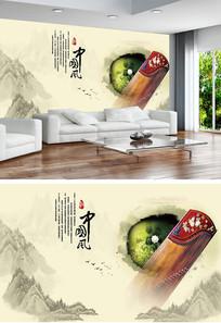 古典中国风乐器诗词中式背景墙