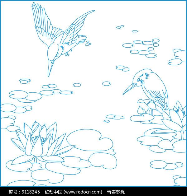简约荷花鸟纹雕刻图案图片