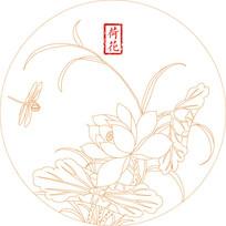 简约蜻蜓荷花纹雕刻图案