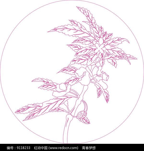 简约花纹线描雕刻图案图片