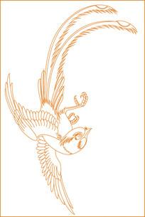 简约鸟纹雕刻图案