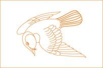 简约鸟线描雕刻图案