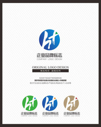 简约中国风水墨h标志设计