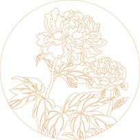 菊花花纹线描雕刻图案