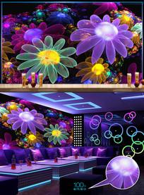 炫酷花朵分形KTV工装背景墙