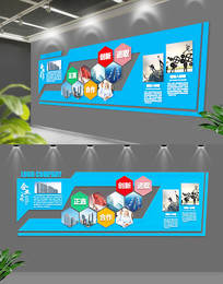 蓝色通用企业文化墙文化墙