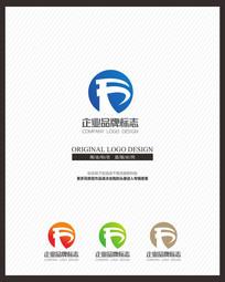 蓝色现代简约建筑企业标志设计