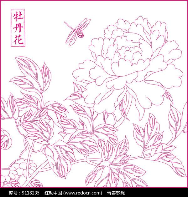 牡丹花纹线描雕刻图案图片