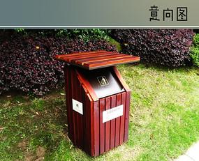 木质垃圾箱 JPG