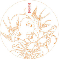 鸟语花香线描雕刻图案