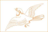 起飞鸟纹线描雕刻图案