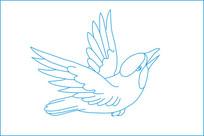 起飞鸟线描雕刻图案