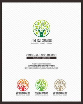 少儿教育母婴品牌树标志设计