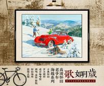 圣诞雪地老爷车版画
