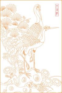 时尚丹顶鹤线描雕刻图案
