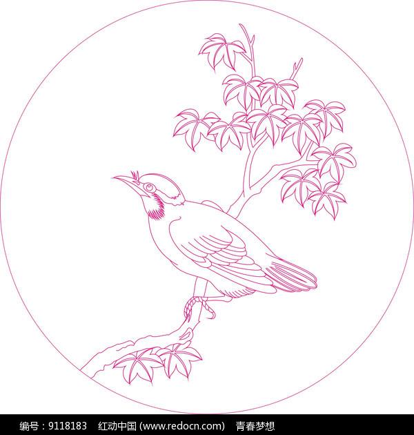 时尚小鸟纹线描雕刻图案 图片