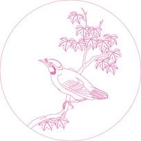 时尚小鸟纹线描雕刻图案