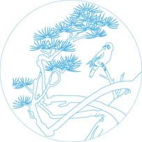 小鸟青松纹雕刻图案