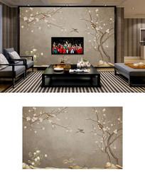 新中式手绘工笔画梅花背景墙