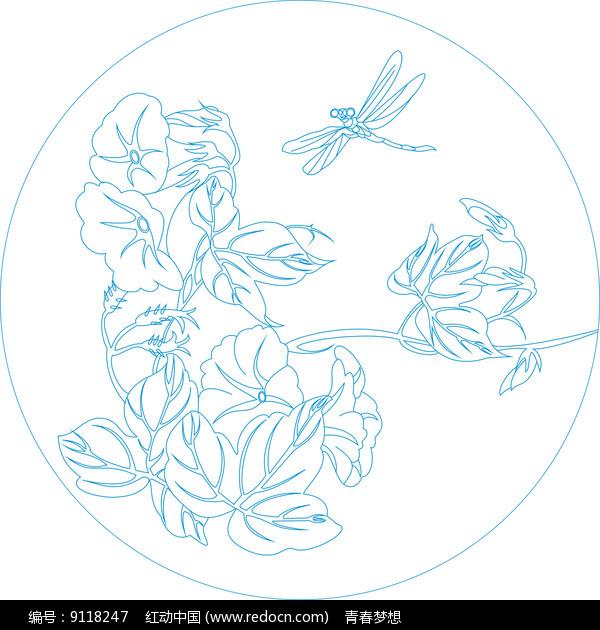 圆形蜻蜓花纹雕刻图案图片