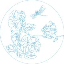 圆形蜻蜓花纹雕刻图案