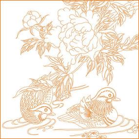 鸳鸯戏水花纹雕刻图案