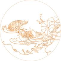 鸳鸯戏水线描雕刻图案
