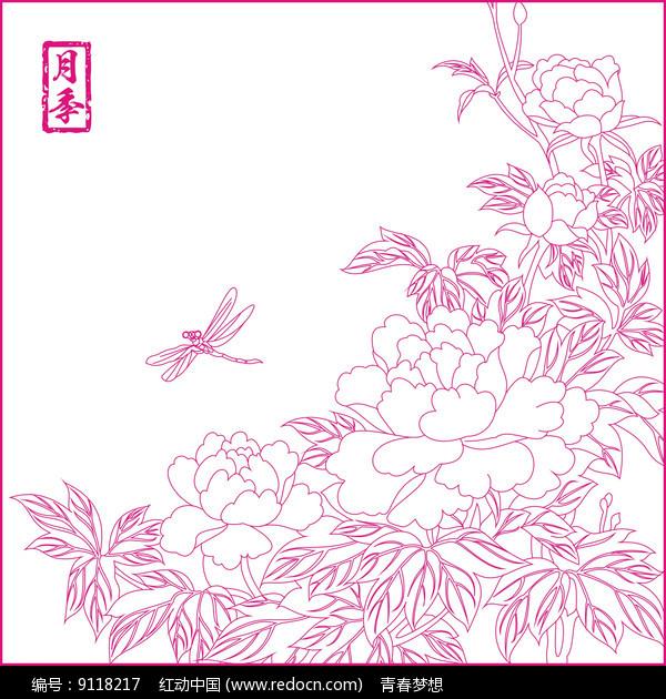 月季花纹线描雕刻图案图片