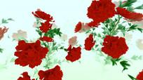 中国风水墨大红牡丹循环动画
