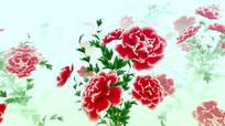 中国风水墨粉色牡丹循环动画