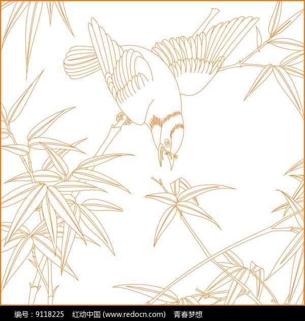 竹纹鸟纹线描雕刻图案图片