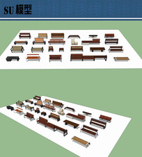 坐凳集合su模型