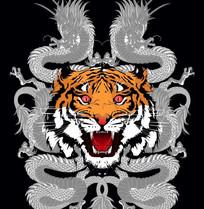 霸气龙和老虎头组合图案 CDR