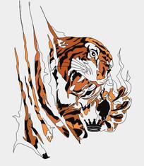 抽象时尚老虎抓痕图案 CDR
