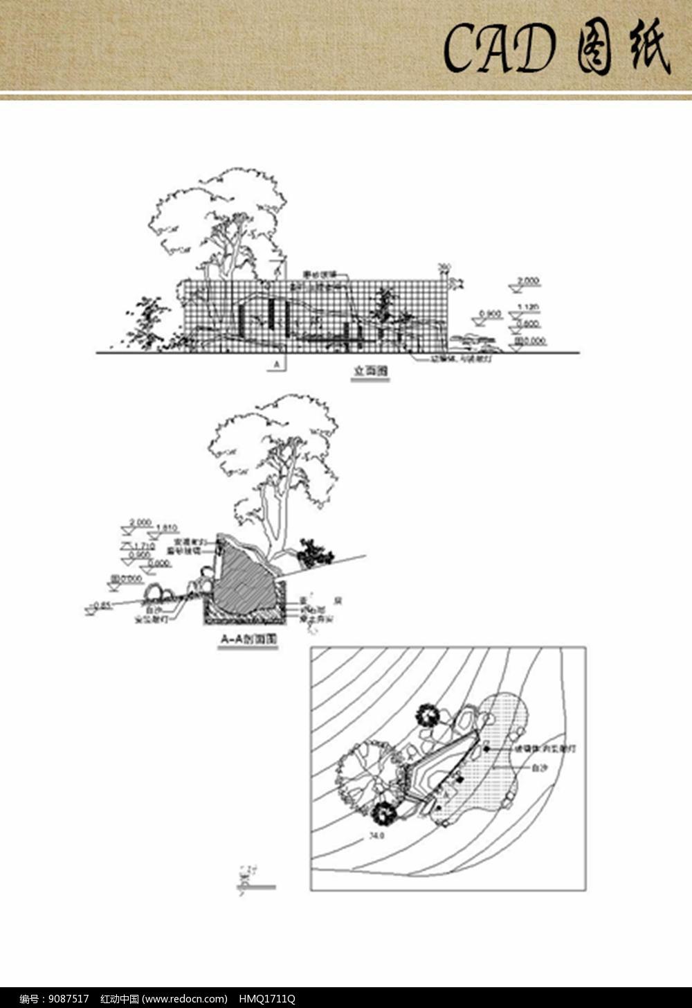 公园入口景墙CAD图片
