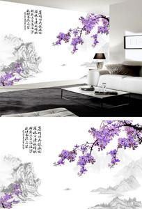 花鸟图山水国画石纹背景墙